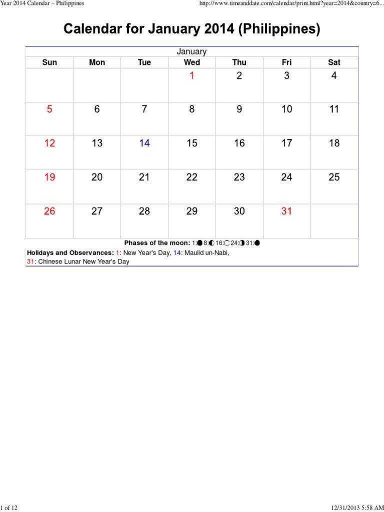 year 2014 calendar philippines holidays observances