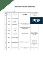 Power TransformerMaintenance Schedule