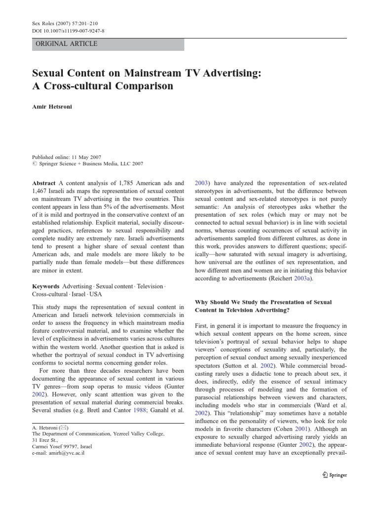 Sexual Content on Mainstream TV Advertising | Human Sexual Activity |  Gender Role