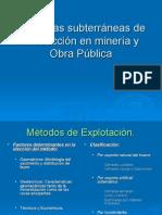 Voladuras subterráneas de Producción en minería y Obra