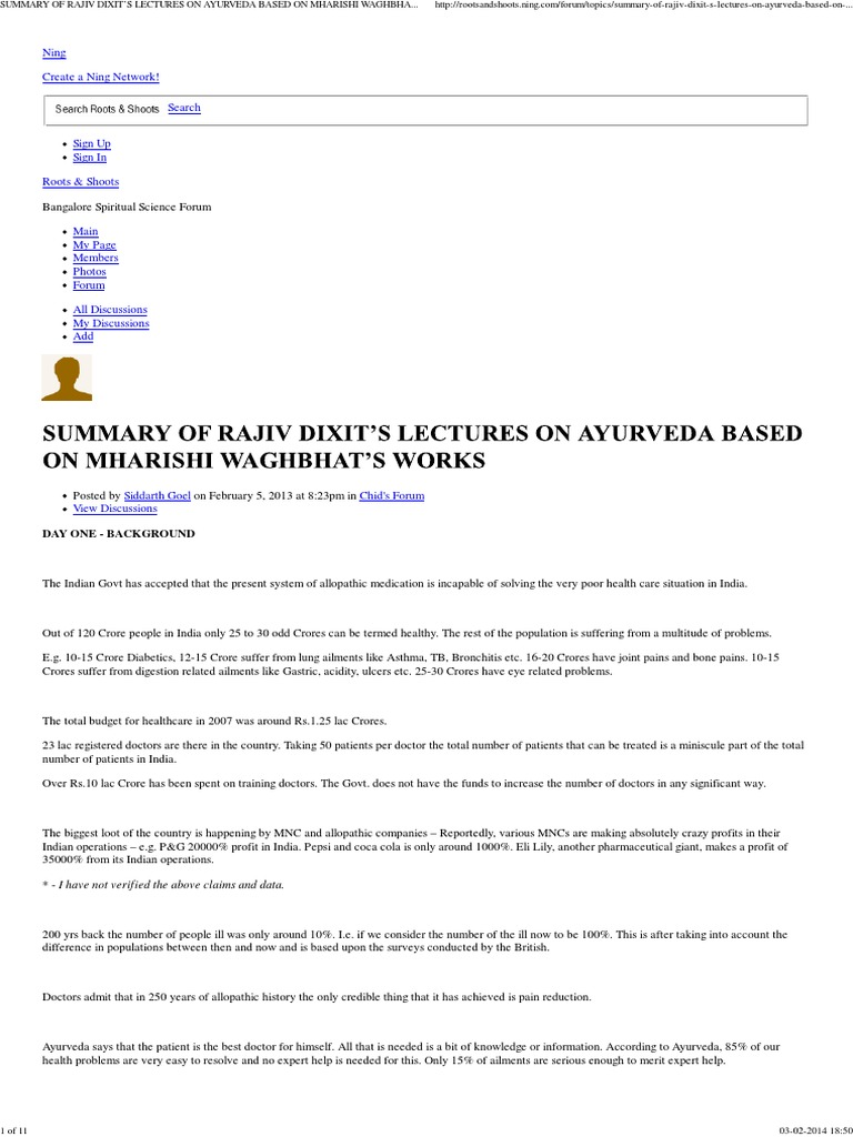 SUMMARY OF RAJIV DIXIT'S LECTURES ON AYURVEDA BASED | Eating
