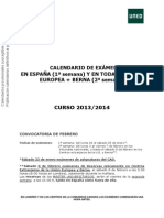 Calendario Provisional Nacional Ue y Berna. Feb 2014