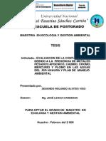 EVALUACIÓN DE LA CONTAMINACIÓN DEBIDO A LA PRESENCIA DE METALES PESADOS:ARSENICO, CADMIO, CROMO, MERCURIO Y PLOMO EN LAS AGUAS DEL RIO HUAURA Y PLAN DE MANEJO AMBIENTAL