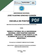 MODELO TUTORIAL EN LA UNIVERSIDAD NACIONAL JOSÉ FAUSTINO SÁNCHEZ CARRIÓN TOMANDO COMO FUENTE A LOS ALUMNOS DE LA E.A.P DE INGENIERÍA INDUSTRIAL