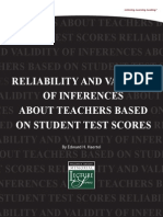 Reliability and Validity of Inferences About Teachers Based On Student Test Scores