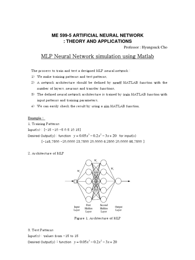 Me 599-5 Artificial Neural Network : Theory and Applications