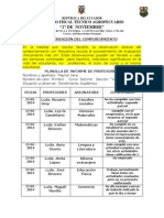 Planilla de Informe Docente