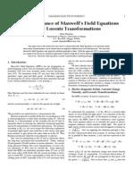 Invariance of Maxwell Field Equations on Lorentz Transformations - Nizar Hamdan