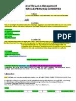 Format of Resume-Management