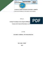 """TRABAJO TECNOLÓGICO DE INVESTIGACIÓN BIBLIOGRÁFICA SOBRE """"ALCANCES DEL COMERCIO ELECTRÓNICO EN EL PERÚ"""""""
