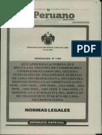 Ordenanza Nº 1769- Que aprueba la norma que regula el Sistema de Corredores Complementarios del Sistema Integrado de Transporte Público de Lima Metropolitana