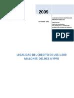 Legalidad del crédito de $us 1000 millones del BCB a YPFB