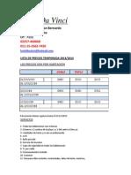 Lista Precio Vinci 2014
