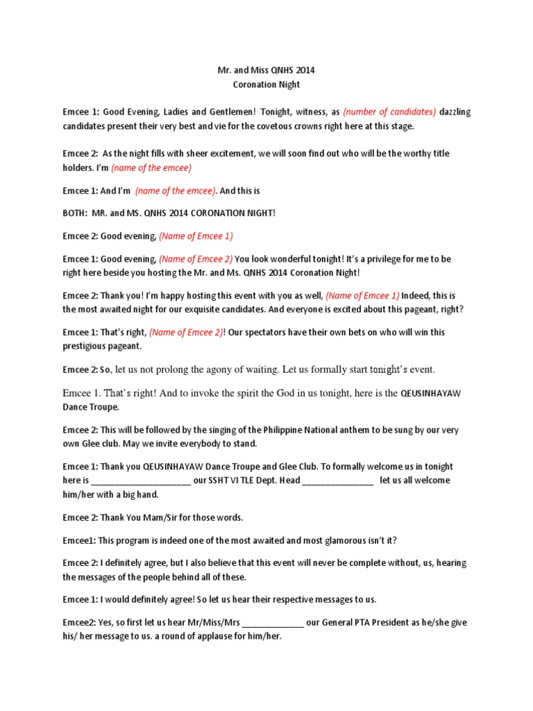 Emcee script for pageant beauty entertainment general stopboris Image collections