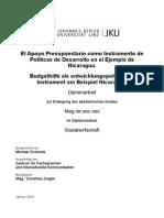 El Apoyo Presupuestario como Instrumento de Políticas de Desarrollo en el Ejemplo de Nicaragua.