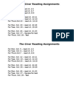 The Giver Reading Assignments