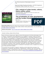 The Privatisation of Urban Development and the London Olympics 2012 - Mike Raco