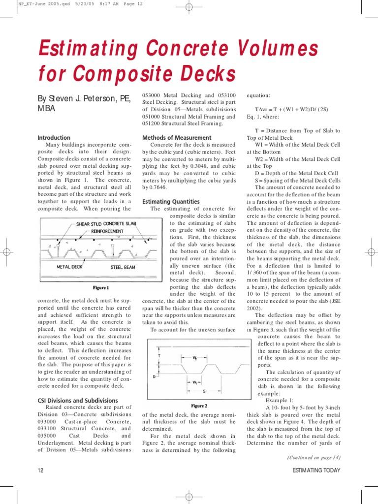 Estimating Concrete Volumes for Composite Decks   Concrete   Deck (Ship)