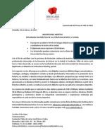 Comunicado de Prensa 001