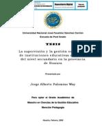 LA SUPERVISIÓN Y LA GESTIÓN EMERGENTE DE INSTITUCIONES EDUCATIVAS ESTATALES DEL NIVEL SECUNDARIO EN LA PROVINCIA DE HUAURA