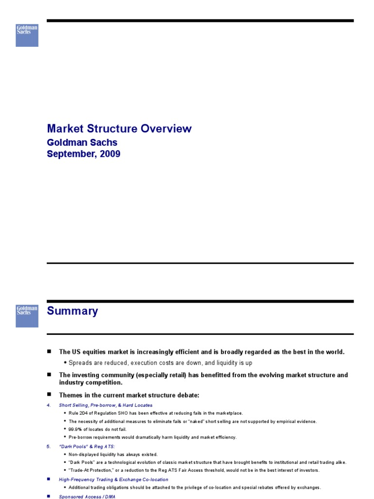 Goldman Sachs Market Structure | High Frequency Trading | Short (Finance)