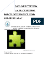 Exclusive Online Interview With Indian Peacekeeping Forces Intelligence Head Col. Hariharan