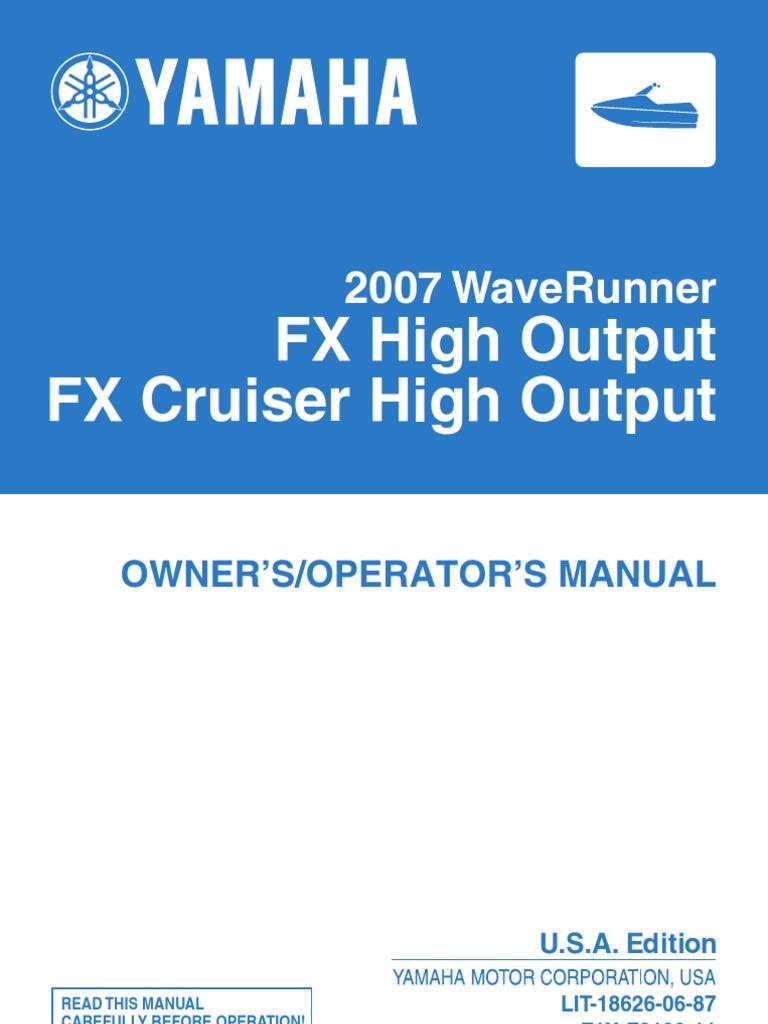 Yamaha Waverunner Fx Ho Owner S Manual
