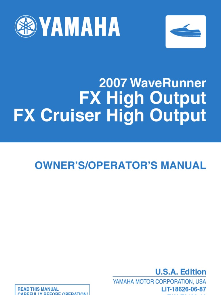 2007 yamaha waverunner fx ho cruiser ho owners manual