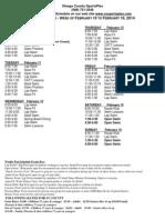 pool schedule week of 2-10-14