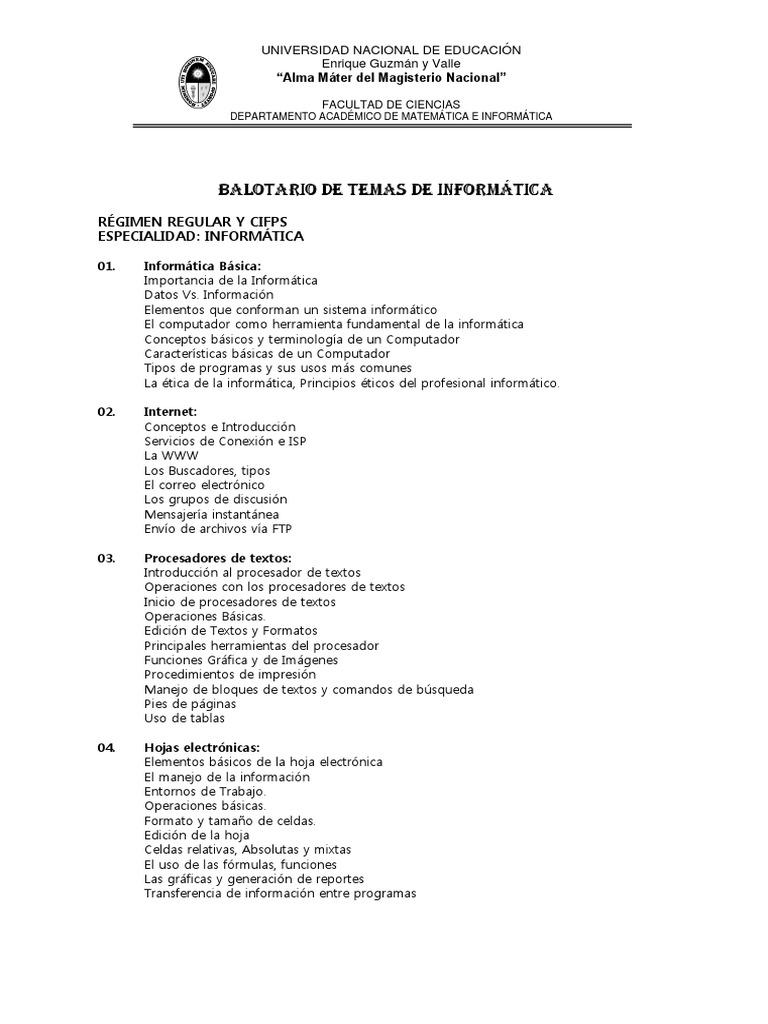 Balotario de Matematica e Informatica 2011