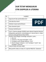 Prosedur Tetap Mengukur Velosimetri Doppler a Uterina