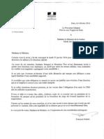 Lettre de Francois Falletti a Christiane Taubira