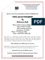 Invitation to attend the Vedic Maths Workshop, California