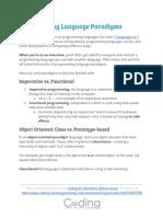 Free Programming Language Paradigms Cheat Sheet