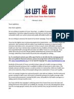 Texas Left Me Out 2014 Letter to Legislators