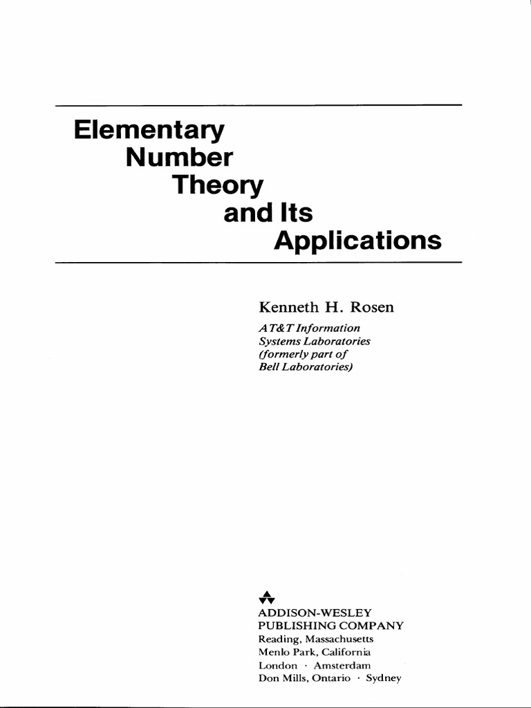 Rosen Elementary Number Theory And Its Applications