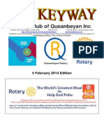The Keyway - Weekly newsletter for the Rotary Club of Queanbeyan - 5 February 2014 Edition