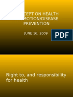 Concept on Health Promotion/Disease Prevention