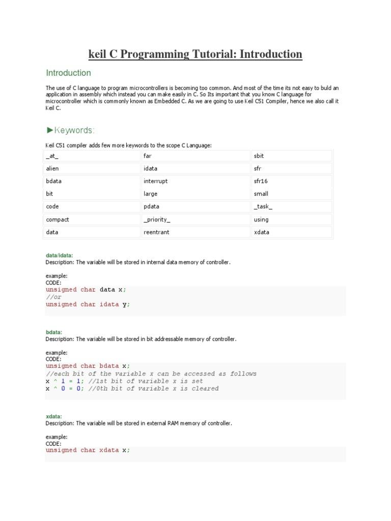 Keil C Programming Tutorial   Pointer (Computer Programming