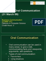 Comm 101 - Unit 3 Oral Communication (31 March 09)