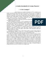 Contabilitatea Si Analiza Operatiunilor de Leasing Financiar