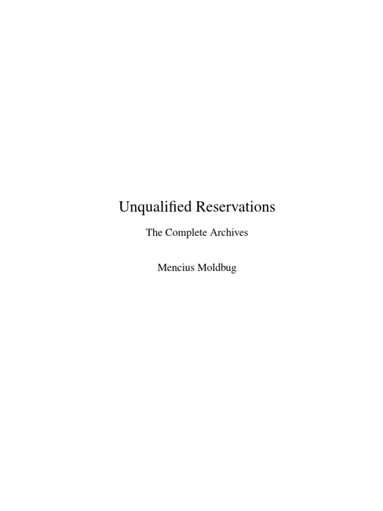 Unqualified Reservations