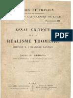 Abbé H.Dehove - essai critique sur le réalisme thomiste