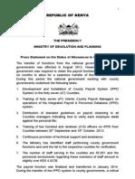 Press Statement on Unpaid Allowances - 5.2.2014