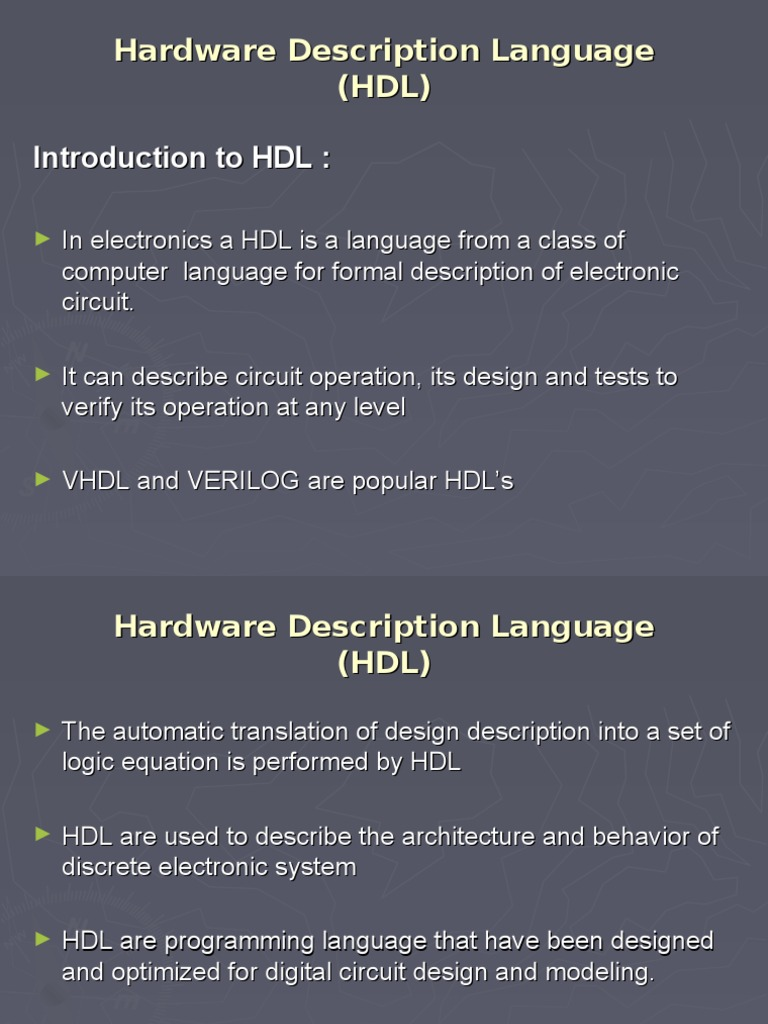 Hardware Description Language (HDL) Introduction to HDL : | Hardware ...