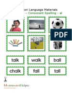 Montessori Language Materials Green Consonant AL Age 3 to 6