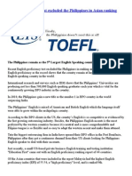 English Proficiency Test Excluded the Philippines in Asian Ranking