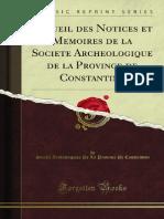 Recueil Des Notices Et Memoires de La Societe Archeologique de La 1200146698