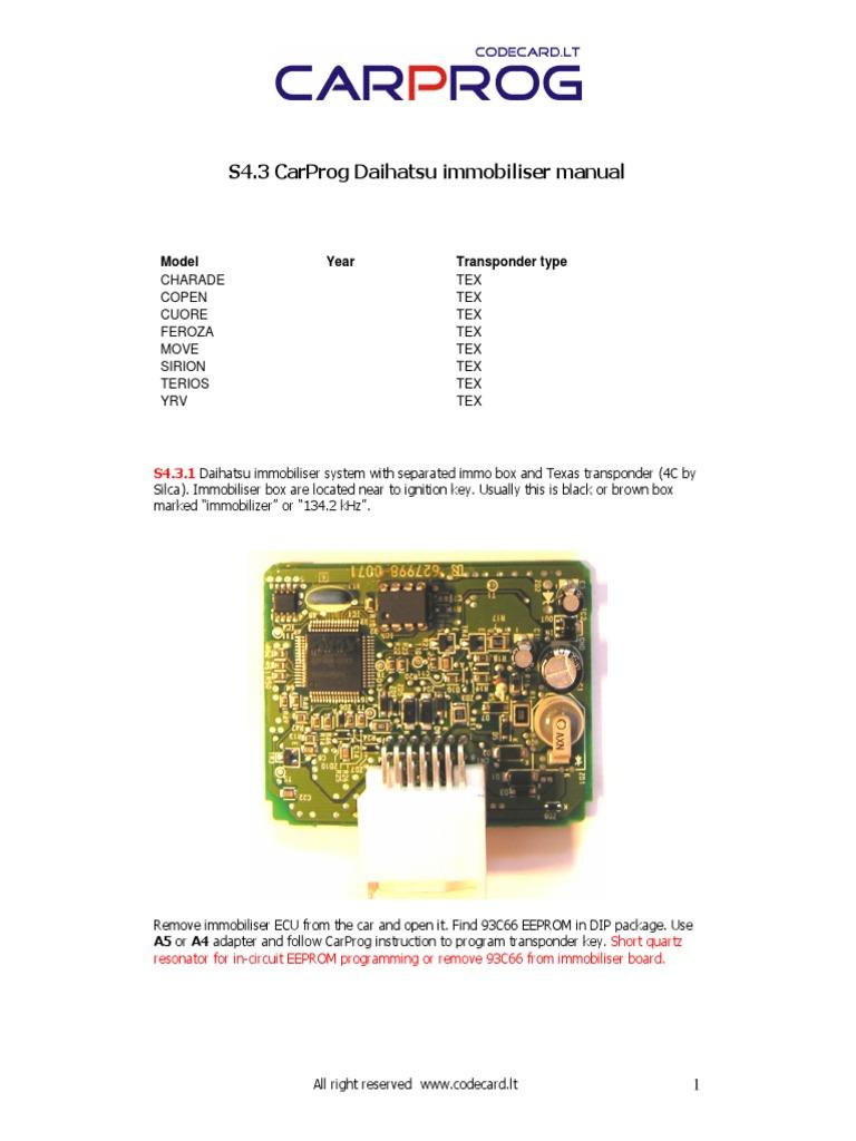 CARPROG Daihatsu Immo Manual