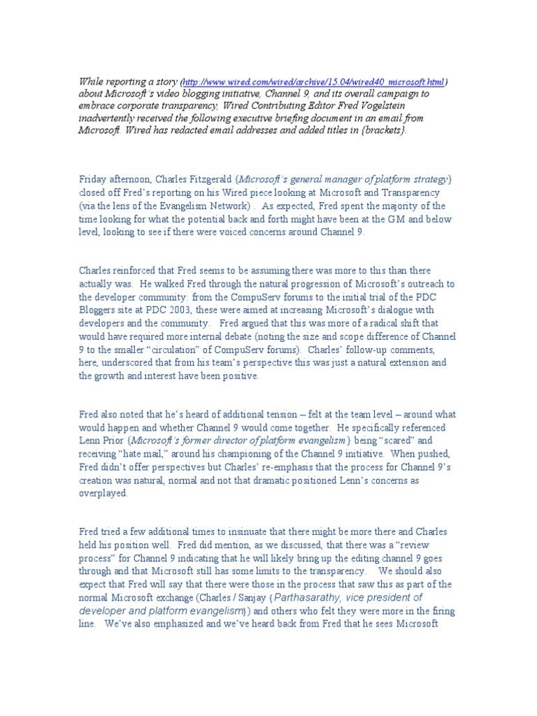 waggener edstrom internal notes on fred vogelstein blog microsoft